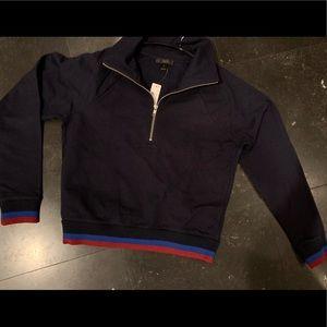 JCrew half-zip sweatshirt.